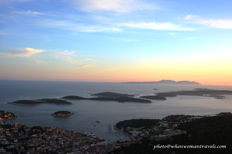 Hvar island at sunset from Fort Napoleon