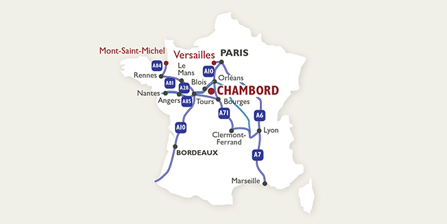 Map-location of Chambor Castle in France